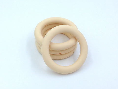 65mm Beige Silicone Teething Ring With Holes