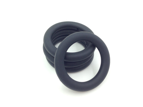 65mm Black Silicone Teething Ring With Holes