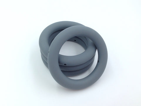 65mm Gray Silicone Teething Ring With Holes