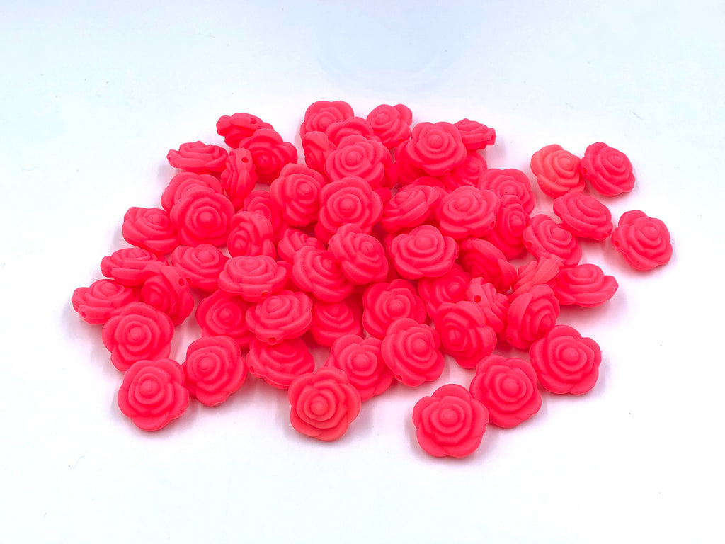 Shocking Pink Mini Silicone Rose Flower Beads