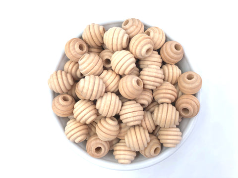 16mm Natural Wood Beehive Beads