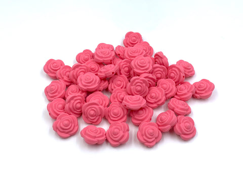 Perfectly Pink Mini Silicone Rose Flower Beads