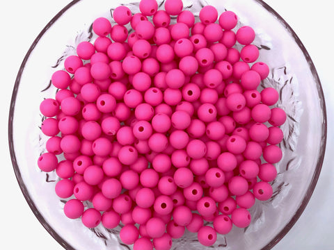 9mm Flamingo Pink Silicone Beads