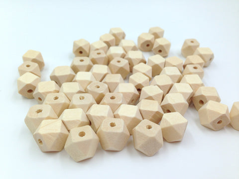 10mm Natural Wood Hexagon Beads