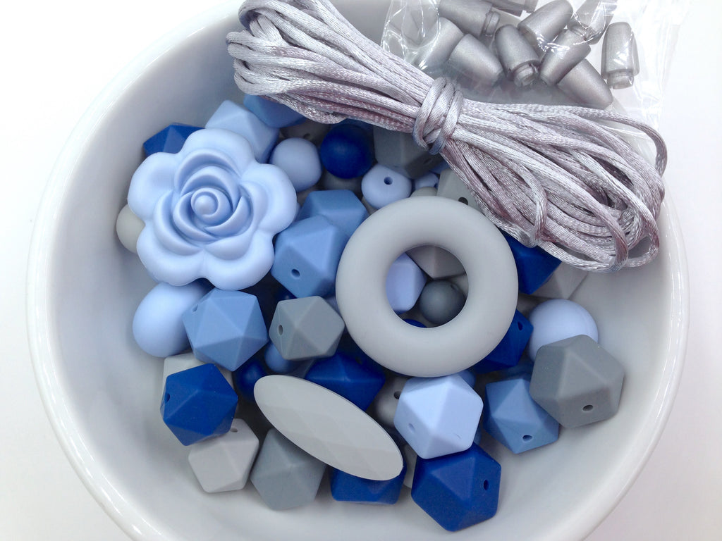 Shades of Blue & Gray Bulk Silicone Bead Mix