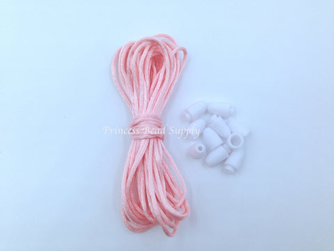 1.5mm Pink Quartz Satin Nylon Cord & Break-Away Clasps