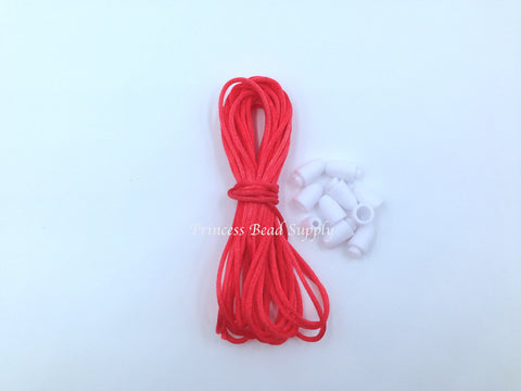 1.5mm Coral Red Satin Nylon Cord & Break-Away Clasps