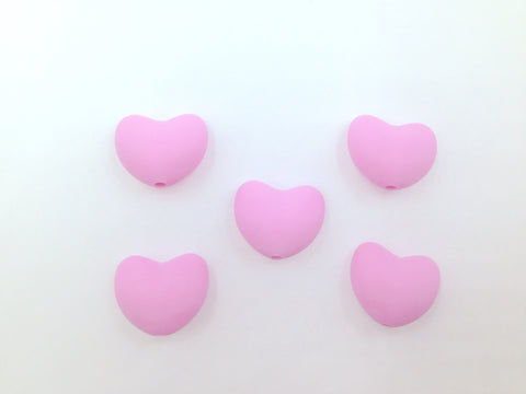 Light Pink Heart Silicone Teething Beads