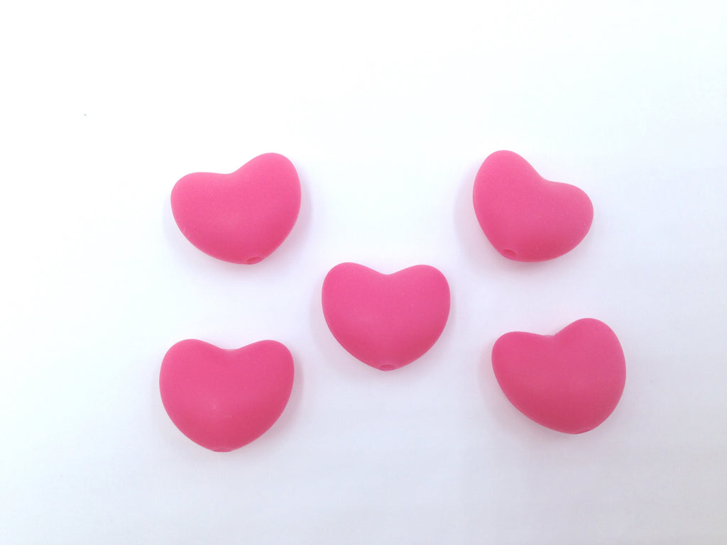 Light Hot Pink Heart Silicone Teething Beads