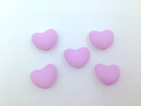 Sweet Lilac Heart Silicone Teething Beads