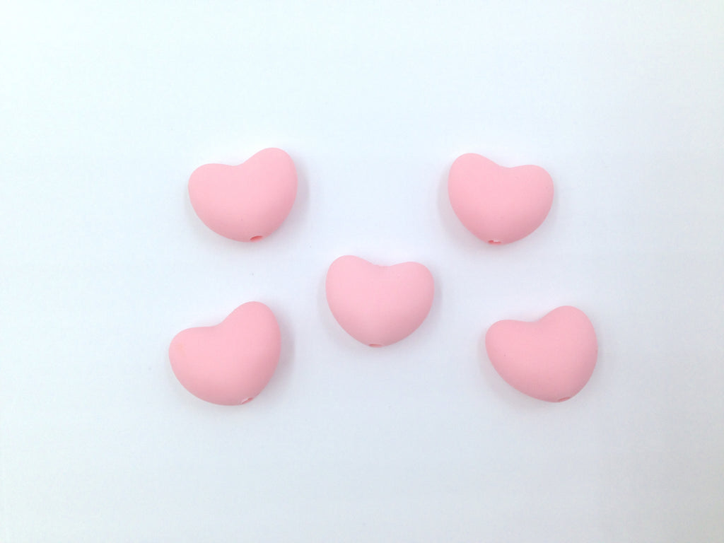 Pink Quartz Heart Silicone Teething Beads