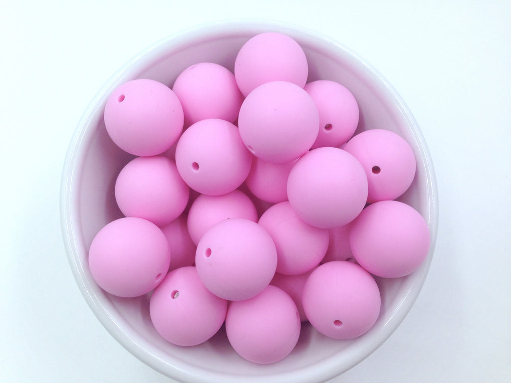 22mm Light Pink Round Silicone Beads