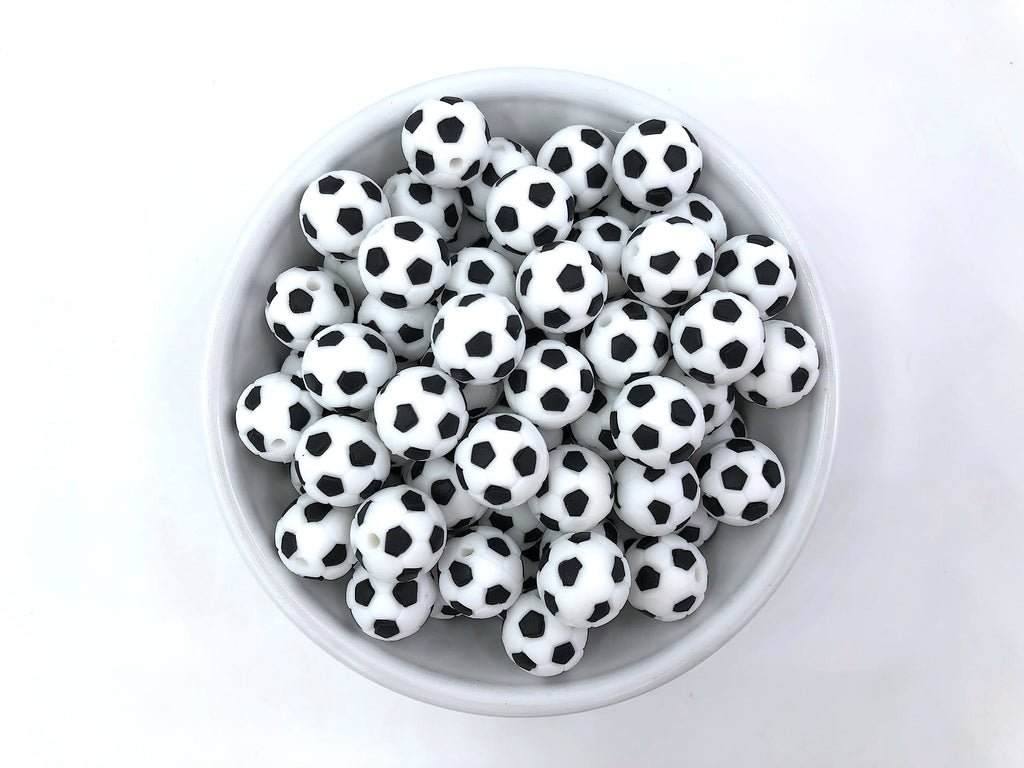 Black & White Soccer Ball Silicone Beads