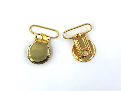 "Gold Metal 1"" Round Pacifier Clip"