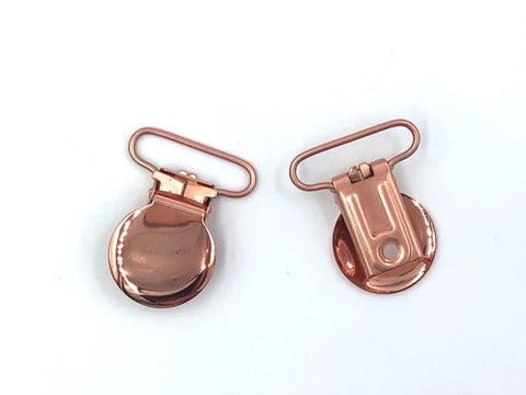 "Rose Gold Metal 1"" Round Pacifier Clip"