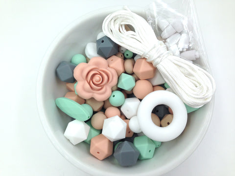 Oatmeal, Gray, Mint, Peach & White Bulk Silicone Beads Mix