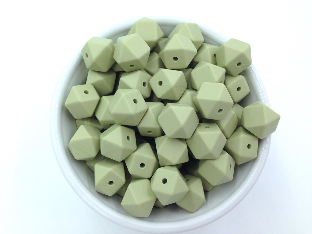 14mm Sage Mini Hexagon Silicone Teething Beads
