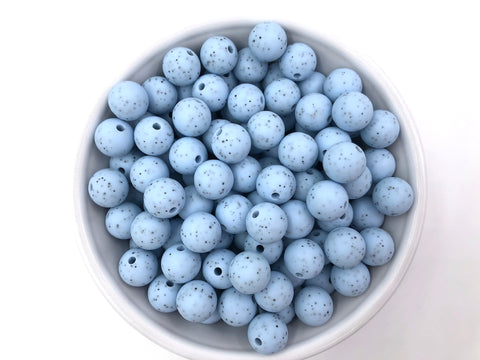 12mm Baby Blue Speckled Silicone Beads
