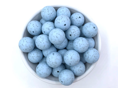 19mm Baby Blue Speckled Silicone Beads