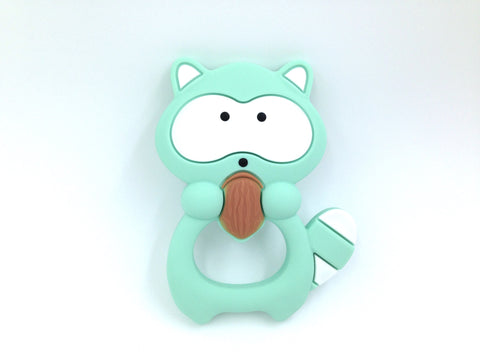 Mint Raccoon Silicone Teether