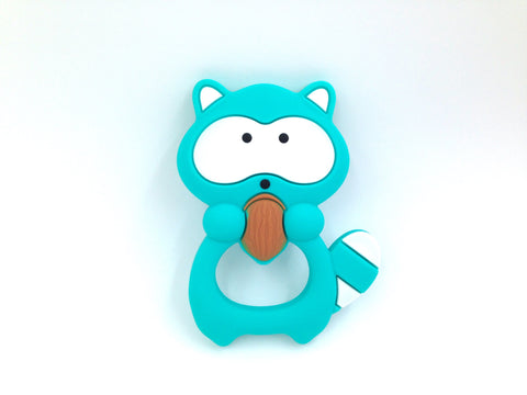 Turquoise Raccoon Silicone Teether