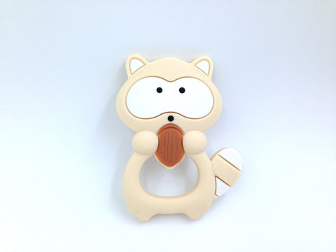 Beige Raccoon Silicone Teether