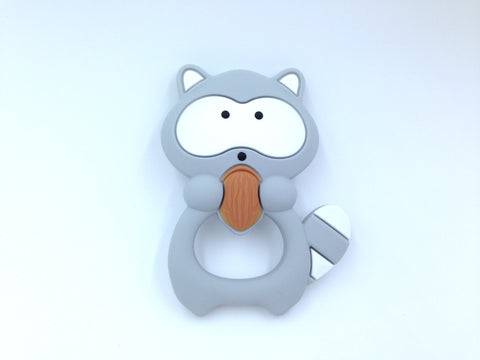 Light Gray Raccoon Silicone Teether