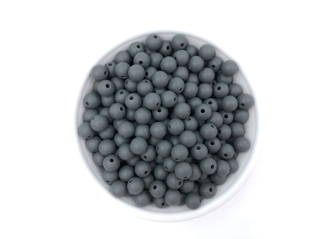 9mm Charcoal Gray Silicone Teething Beads