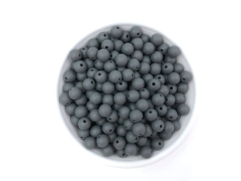 9mm Charcoal Gray Silicone Beads