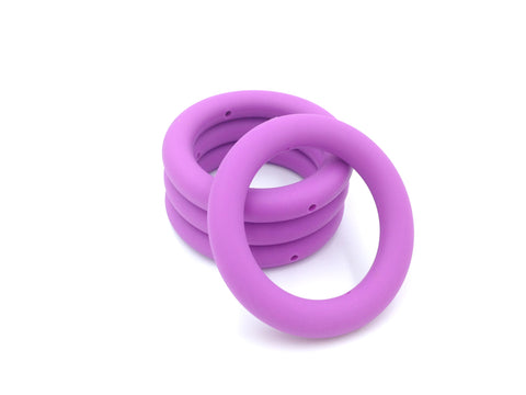 65mm Lavender Purple Silicone Teething Ring With Holes