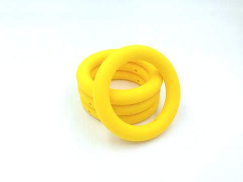 65mm Yellow Silicone Teething Ring With Holes