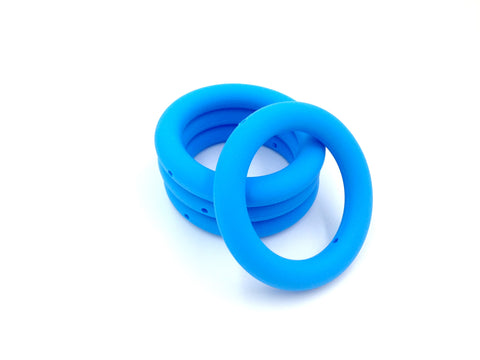 65mm Sky Blue Silicone Teething Ring With Holes