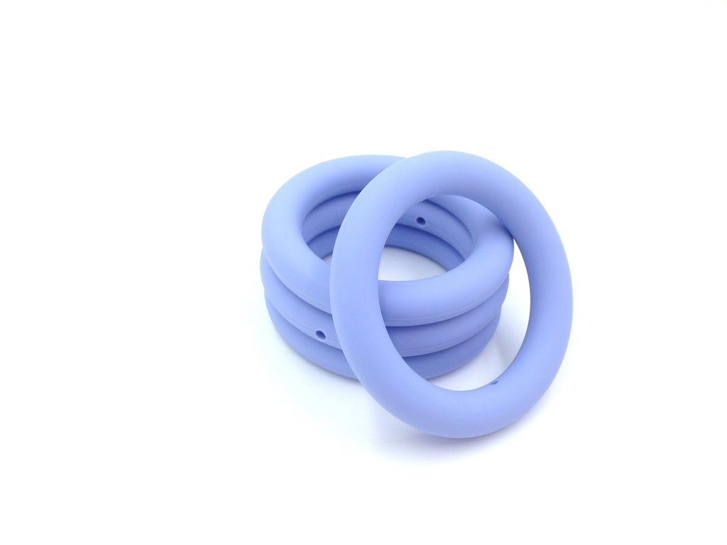 65mm Tranquility Blue Silicone Teething Ring With Holes