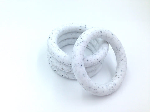 65mm Speckled Silicone Teething Ring With Holes