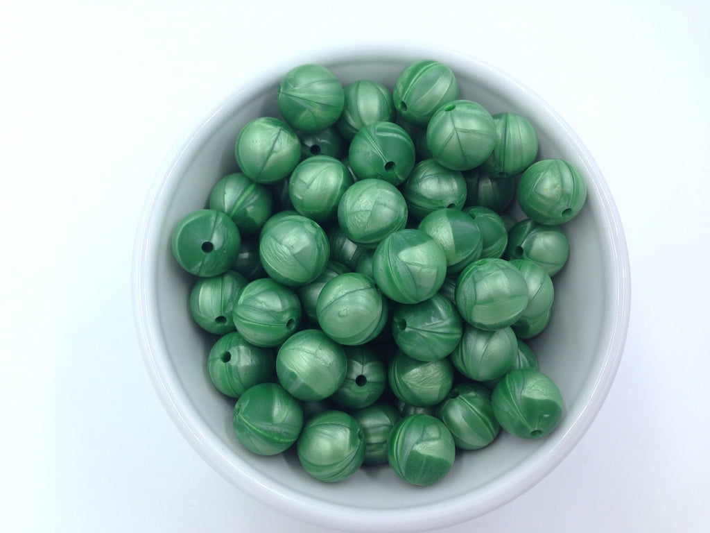 15mm Metallic Green Silicone Beads