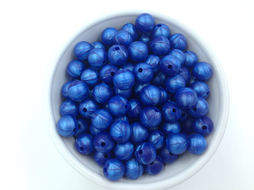 12mm Metallic Royal Blue Silicone Beads
