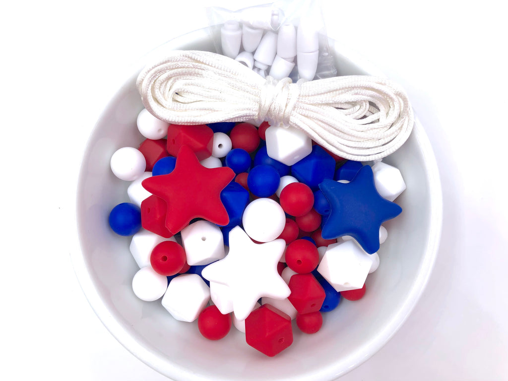 Red, White and Blue Bulk Silicone Bead Mix--4th of July Mix