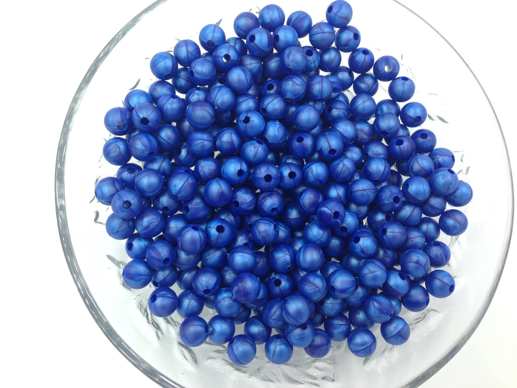 9mm Metallic Royal Blue Silicone Beads