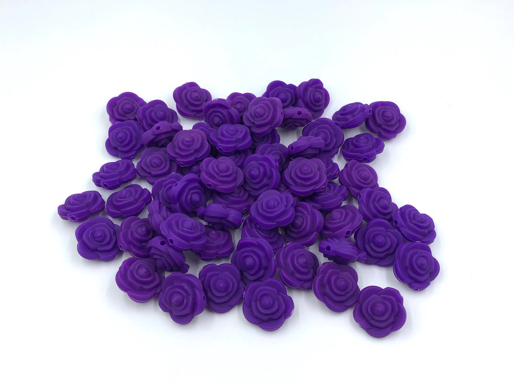 Purple Passion Mini Silicone Rose Flower Beads