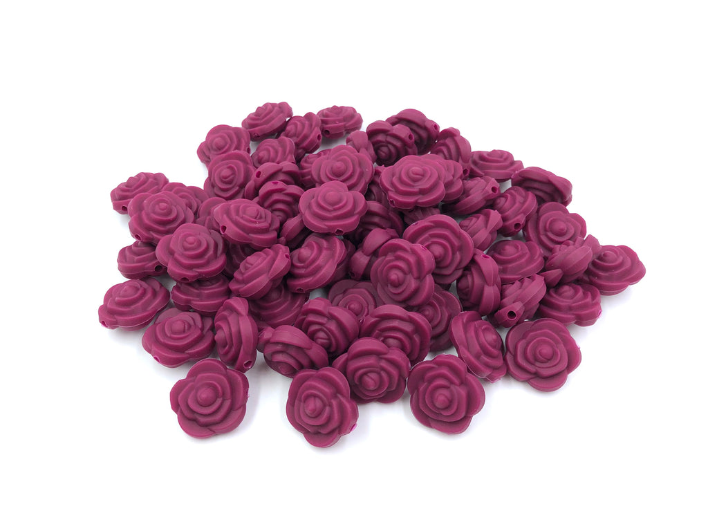 Wine Mini Silicone Rose Flower Beads
