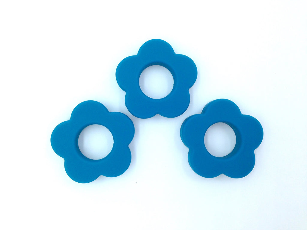 Teal Blue Silicone Flower Pendant