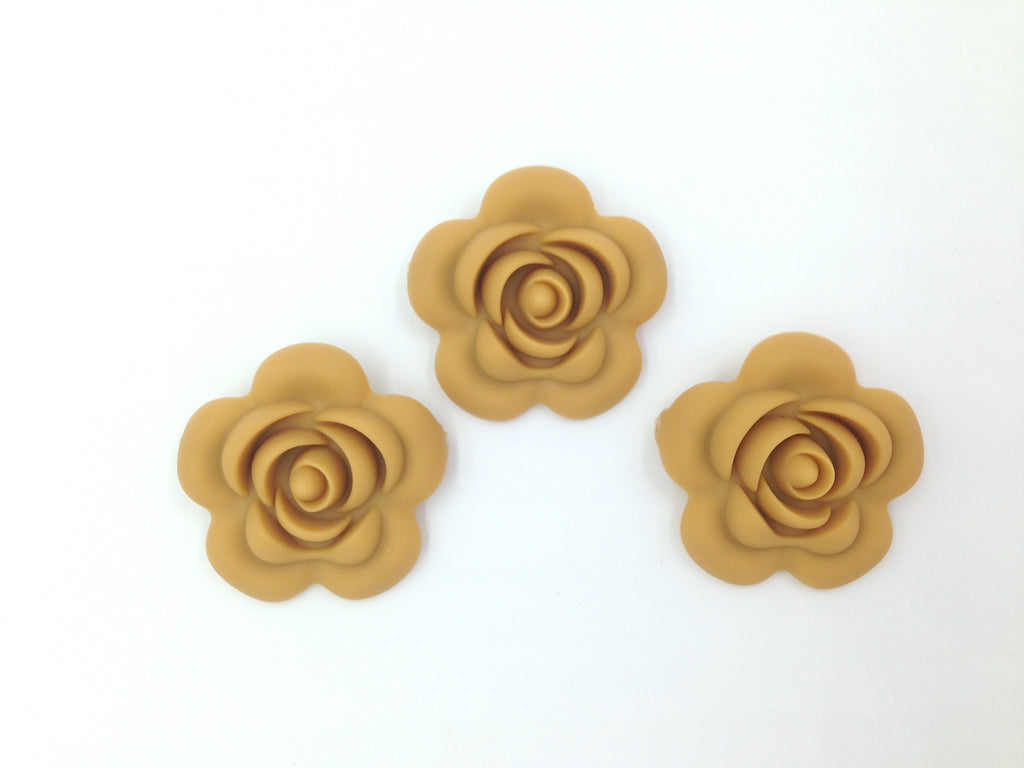 40mm Mustard Silicone Flower Bead