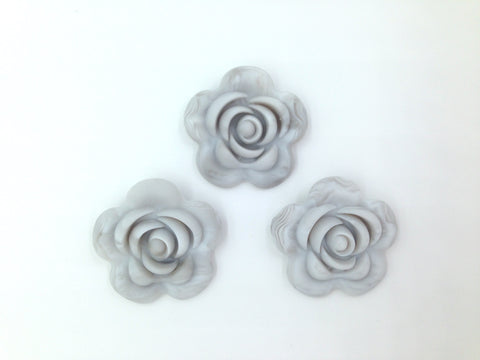 40mm Gray Marble Silicone Flower Bead
