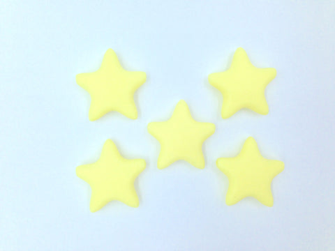 Light Yellow Star Silicone Teething Beads