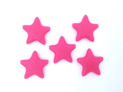 Light Hot Pink Star Silicone Teething Beads