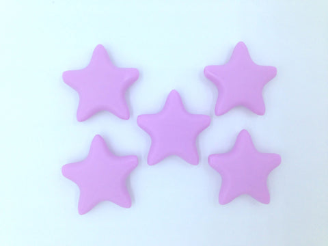 Sweet Lilac Star Silicone Teething Beads