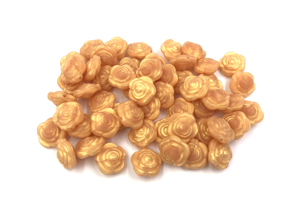 Metallic Gold Mini Silicone Rose Flower Beads