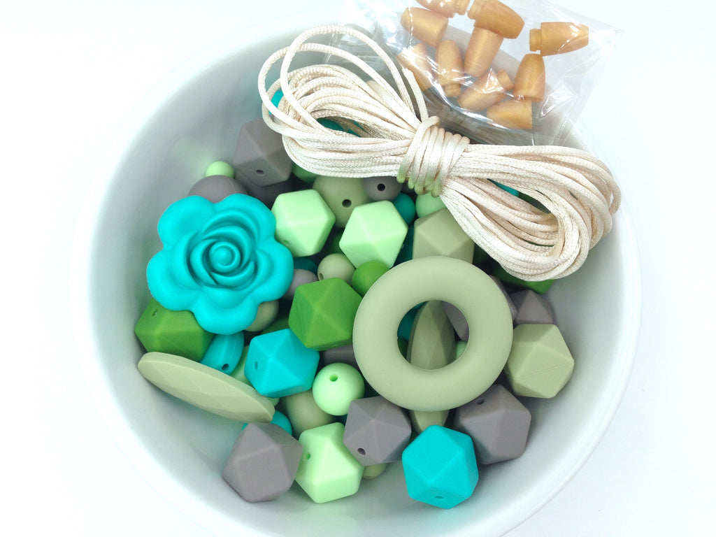 Shades of Green, Turquoise and Taupe Bulk Silicone Bead Mix