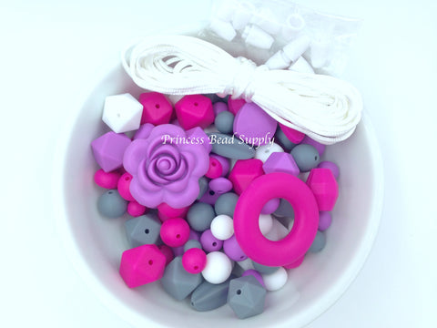 Hot Pink, Purple, White & Gray Silicone Bulk Beads