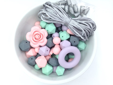 Pink Quartz, Mint, Lavender Mist, and Gray Silicone Bulk Beads